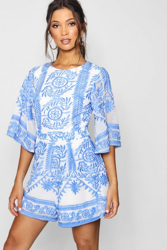 Womens Blue Embroidered Boutique Detail Playsuit