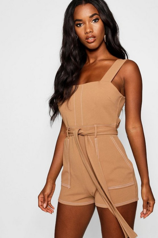 Womens Camel Top Stitch Square Neck Pocket Romper