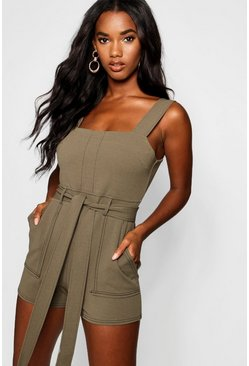 Womens Olive Top Stitch Square Neck Pocket Romper