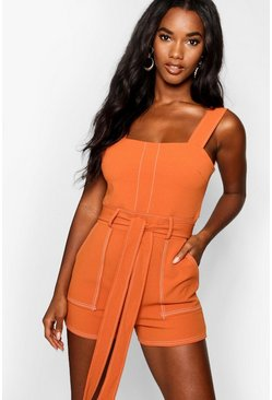 Womens Rust Top Stitch Square Neck Pocket Playsuit