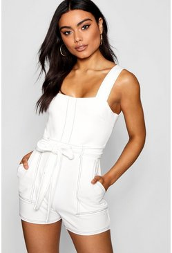 Womens White Top Stitch Square Neck Pocket Romper