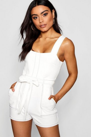 White Top Stitch Square Neck Pocket Playsuit