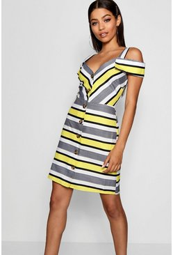 Womens Yellow Stripe Cold Shoulder Summer Dress