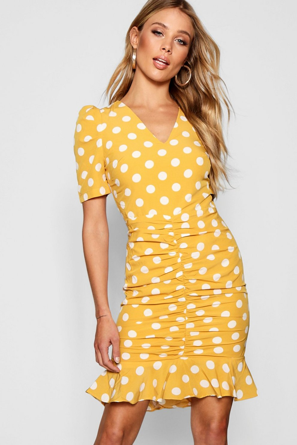 7dd63f03e7e Polka Dot Ruched Front Woven Tea Dress