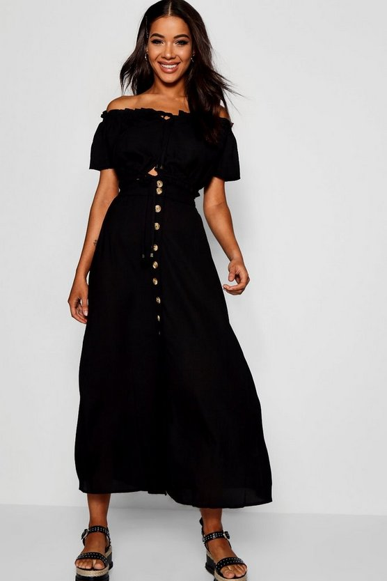 Womens Black Tortoise Shell Button Skirt And Top Co-ord