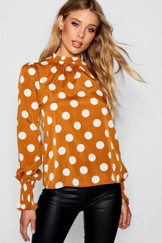 Polka Dot Frill Neck Blouse