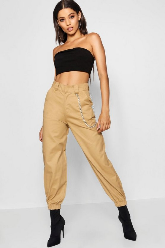 Womens Black Chain Trim Cargo Trousers