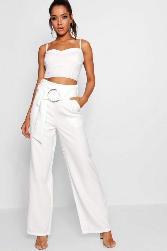 O Ring Belted Wide Leg Trouser