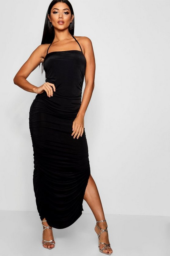 Womens Slinky Ruched Bandeau Midaxi Dress