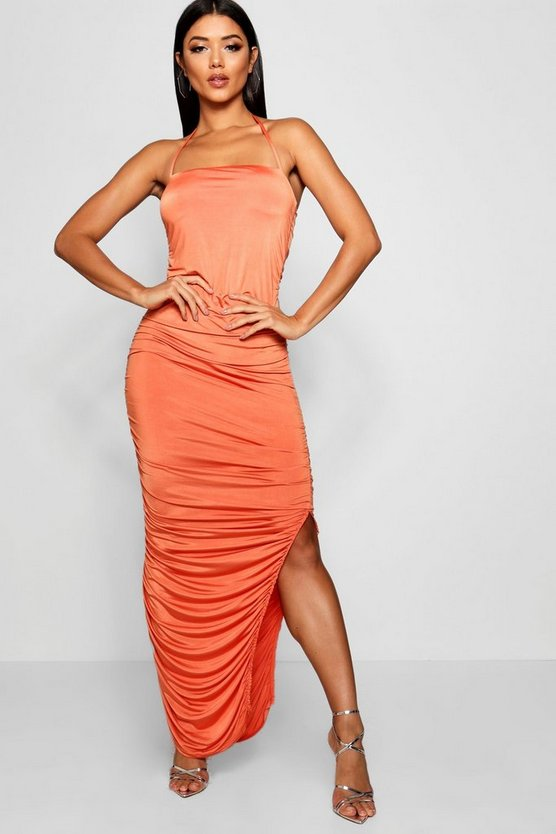Slinky Ruched Bandeau Midaxi Dress