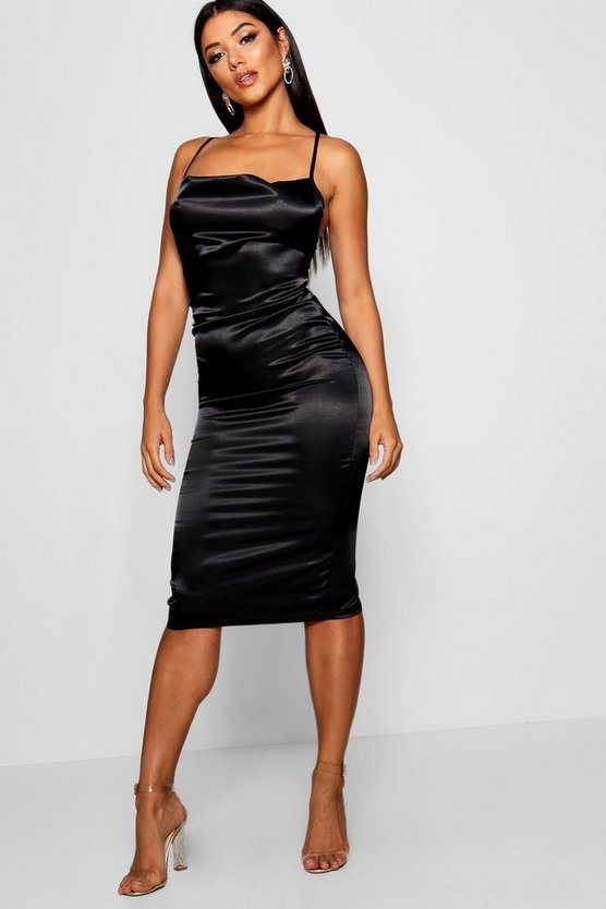 Cowl Front Satin Midi Dress