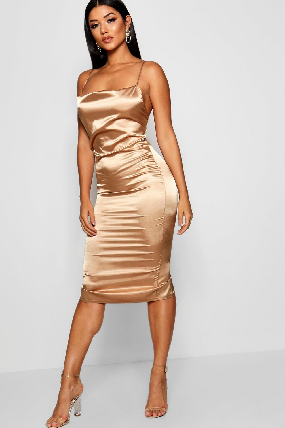 fc033722092c8 Cowl Front Satin Midi Dress | Boohoo