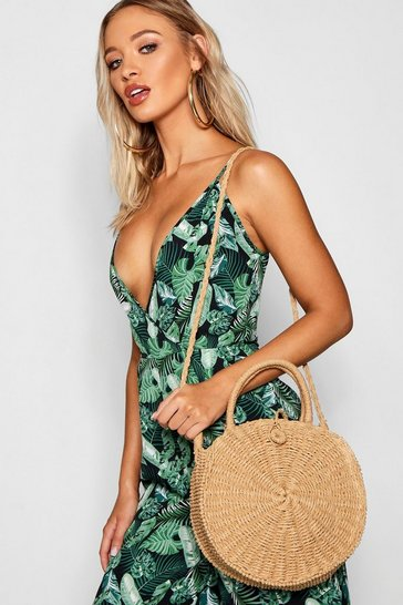 Womens Natural Round Straw Day Bag