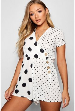 Womens White Polka Dot Wrap Button Playsuit