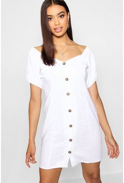 Womens White Square Neck Horn Button Dress