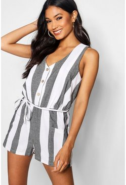 Womens Black Horn Button Down Pocket Wide Stripe Playsuit