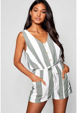 Forest Horn Button Down Pocket Wide Stripe Playsuit
