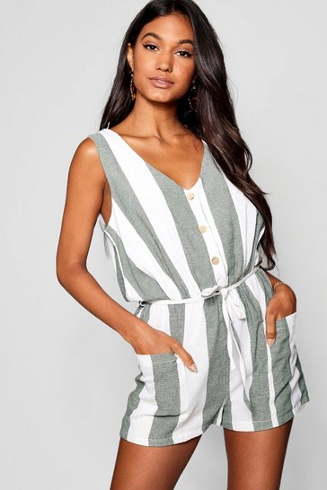 Womens Forest Horn Button Down Pocket Wide Stripe Playsuit
