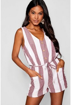 Wine Horn Button Down Pocket Wide Stripe Romper