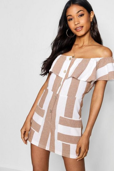 Womens Taupe Linen Wide Stripe Bardot Horn Button Playsuit
