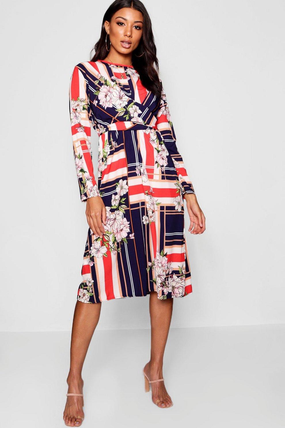 0a512eb5 Black Floral Print Mesh Wrap Front Midi Dress New Look - raveitsafe