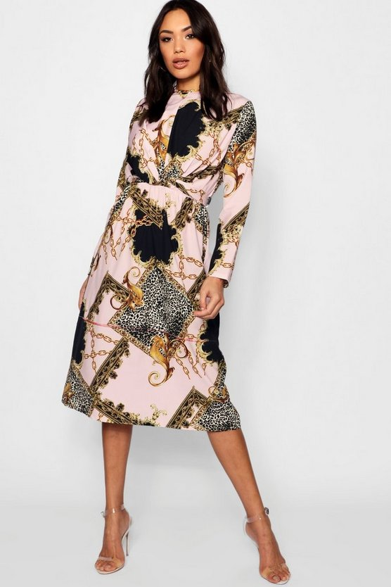 Wrap Front Mix Print Midi Dress
