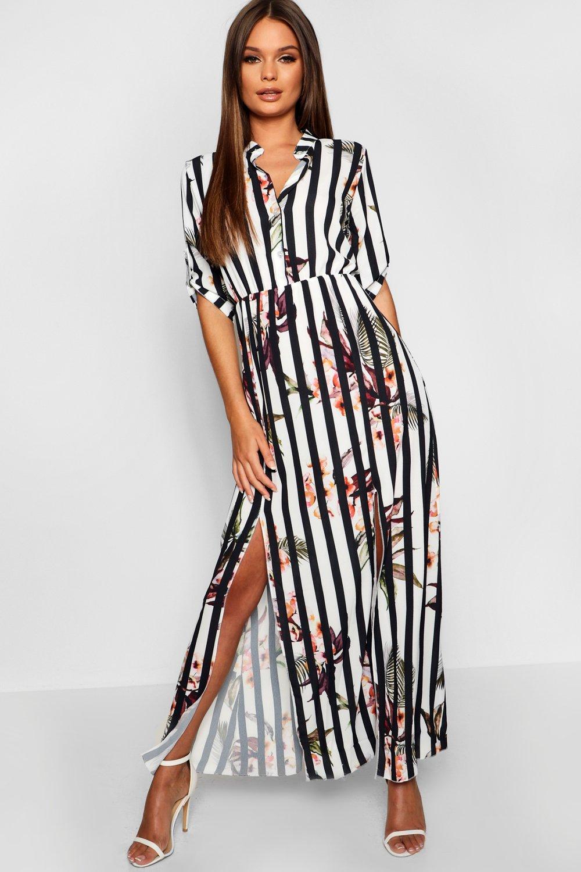 a191c2c4813 Collarless Woven Floral Stripe Maxi Shirt Dress