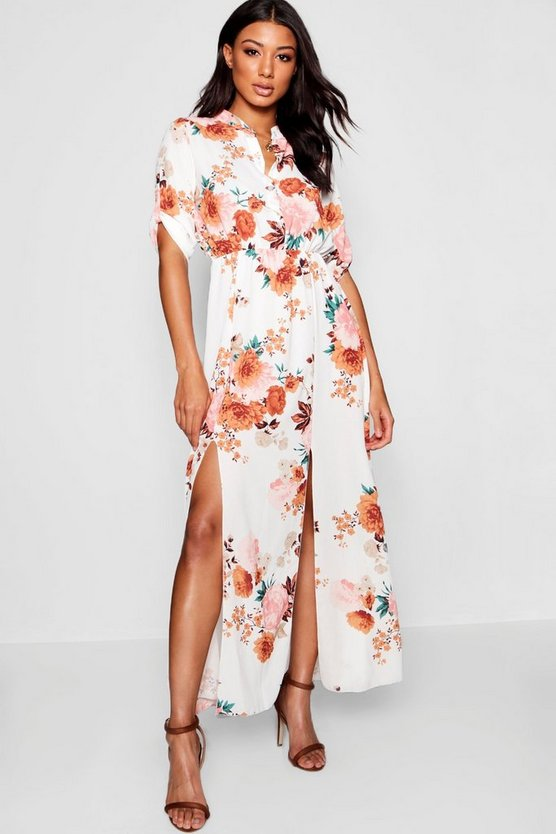 Collarless Woven Floral Maxi Shirt Dress
