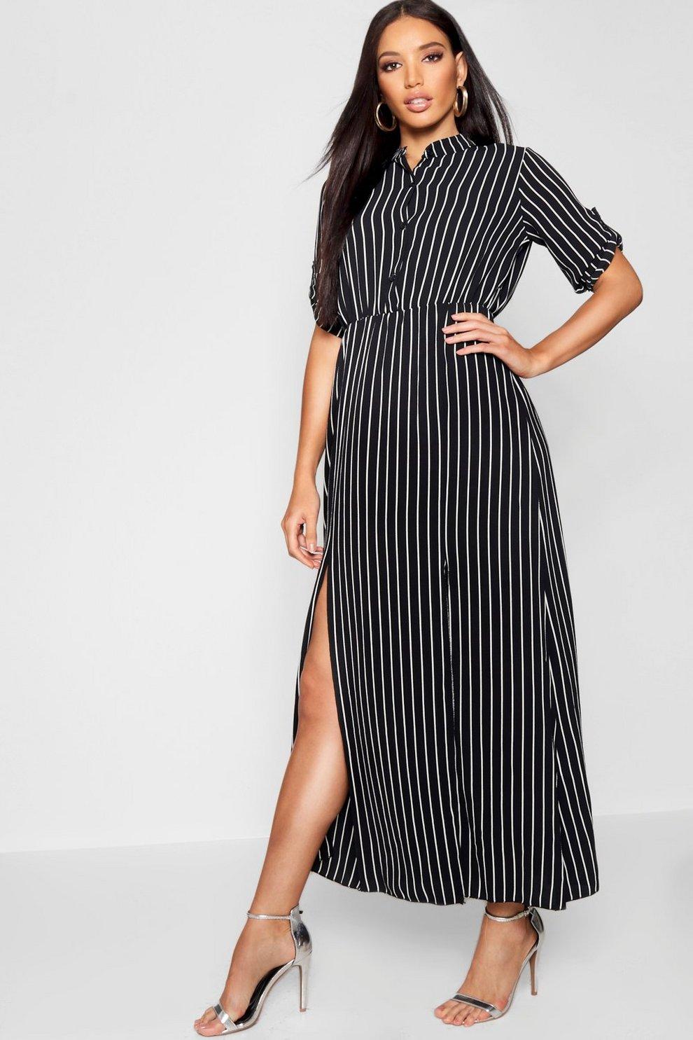 1792ff5571dd Womens Black Collarless Woven Stripe Maxi Shirt Dress