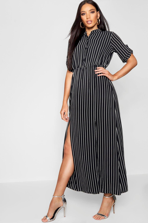 Wonderlijk Collarless Woven Stripe Maxi Shirt Dress | boohoo KJ-65