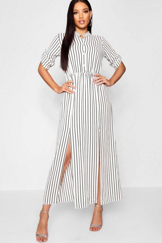 Collarless Woven Stripe Maxi Shirt Dress
