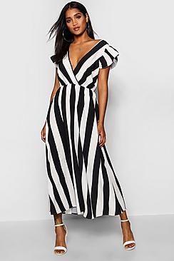 Ruffle Sleeve Plunge Front Stripe Maxi Dress