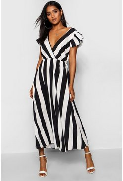 Womens Black Ruffle Sleeve Plunge Front Stripe Maxi Dress