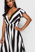 0126f5f820f6 ... Womens Black Ruffle Sleeve Plunge Front Stripe Maxi Dress alternative  image
