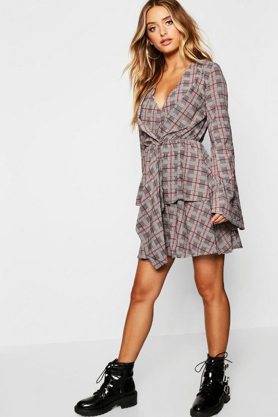 Twist Front Hanky Hem Checked Skater Dress