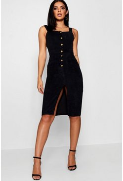 Womens Black Cord Button Front Midi Pinafore Dress