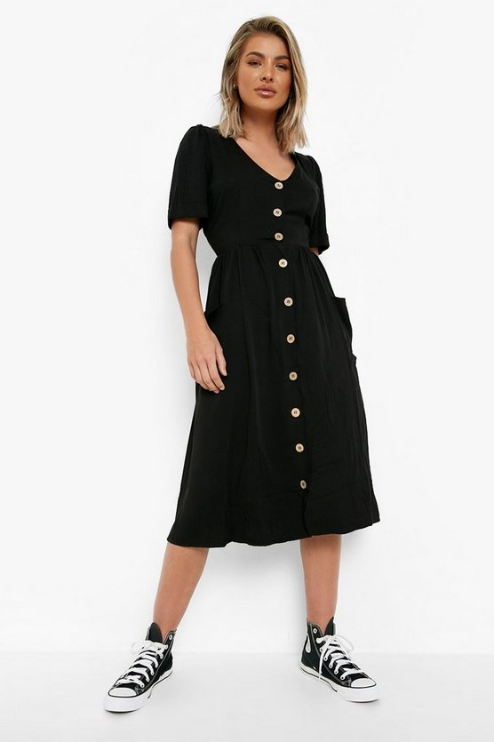 Womens Black Button Front Pocket Detail Midi Dress