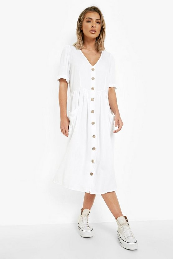 Womens Cream Button Front Pocket Detail Midi Dress