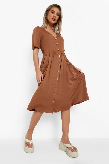 Womens Tobacco Button Front Pocket Detail Midi Dress