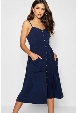 Navy Button Front Pocket Detail Midi Dress