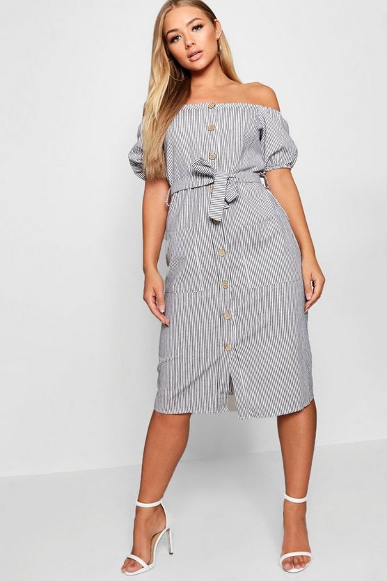 Grey Square Neck Puff Sleeve Striped Midi Dress