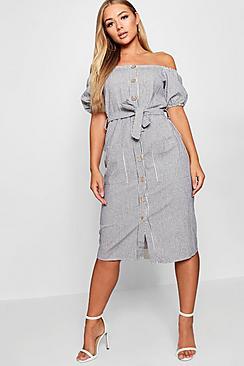 Square Neck Puff Sleeve Striped Midi Dress