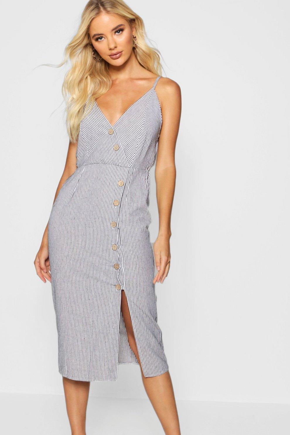 04b09e63f22e0 Button Front Cotton Stripe Midi Dress | Boohoo