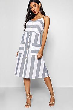 Wide Stripe Cami Midi Dress