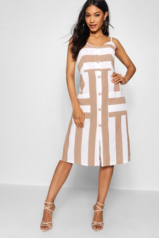 Womens Taupe Wide Stripe Cami Midi Dress