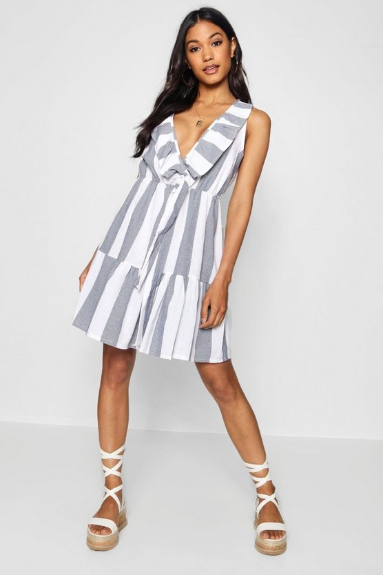 Wide Stripe Knot Front Tea Dress