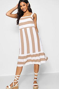Wide Stripe Cotton Drop Hem Smock Dress