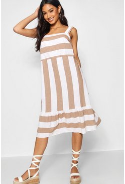 Womens Taupe Wide Stripe Cotton Drop Hem Smock Dress