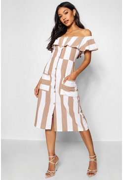 Taupe Off The Shoulder Wide Stripe Midi Dress