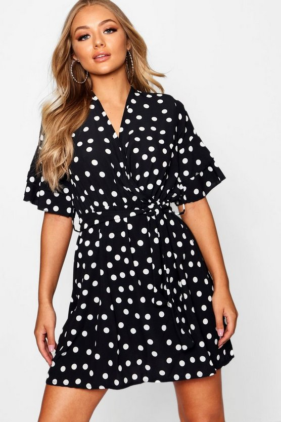 Large Polka Dot Floral Tea Dress